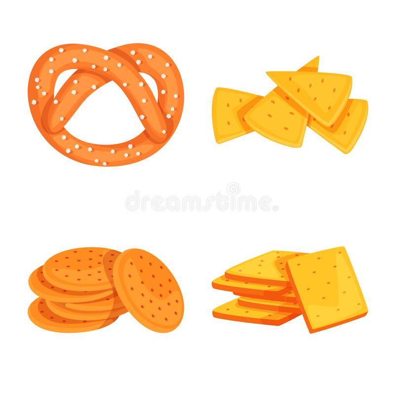 Isolated object of food and crunchy symbol. Set of food and flavor vector icon for stock. Vector design of food and crunchy sign. Collection of food and flavor royalty free illustration