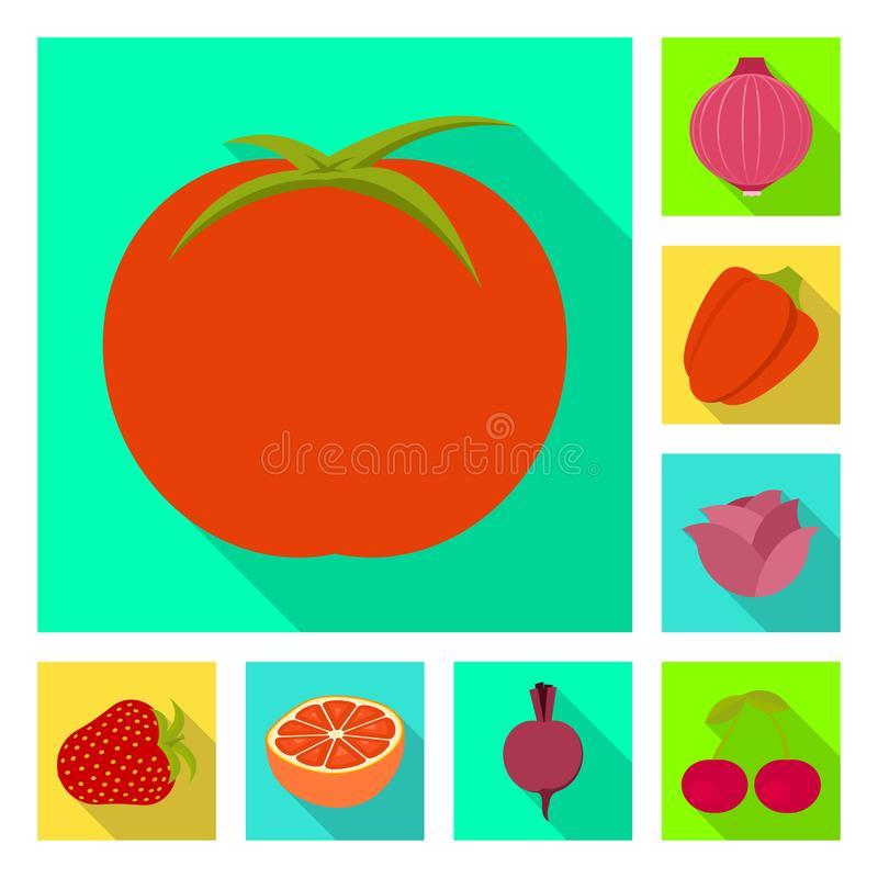Isolated object of fresh and red symbol. Collection of fresh and organic stock symbol for web. Vector design of fresh and red sign. Set of fresh and organic vector illustration