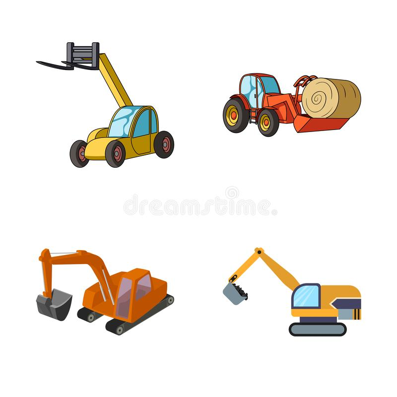 Isolated object of front and excavator logo. Set of front and bucket stock vector illustration. Vector design of front and excavator icon. Collection of front royalty free illustration