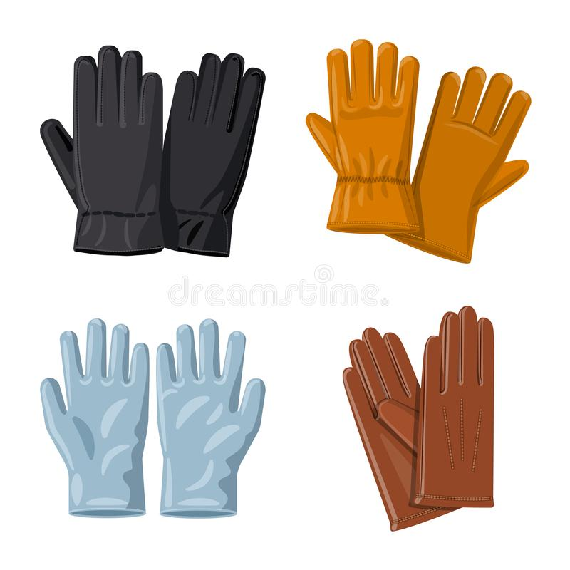Vector illustration of glove and winter logo. Set of glove and equipment stock symbol for web. stock illustration