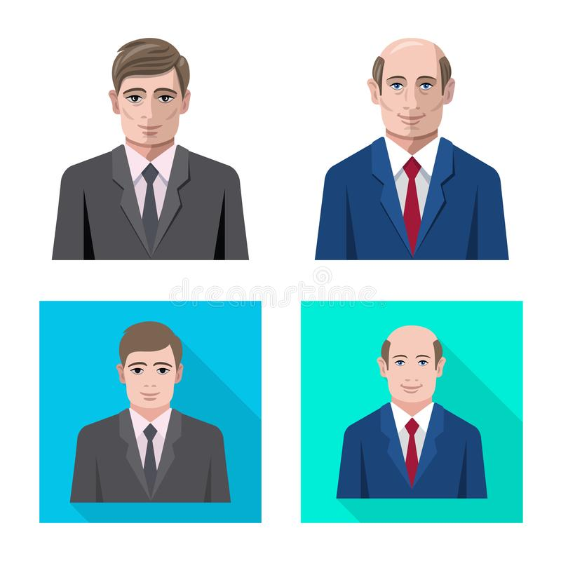 Vector illustration of hairstyle and profession icon. Collection of hairstyle and character stock symbol for web. Isolated object of hairstyle and profession stock illustration