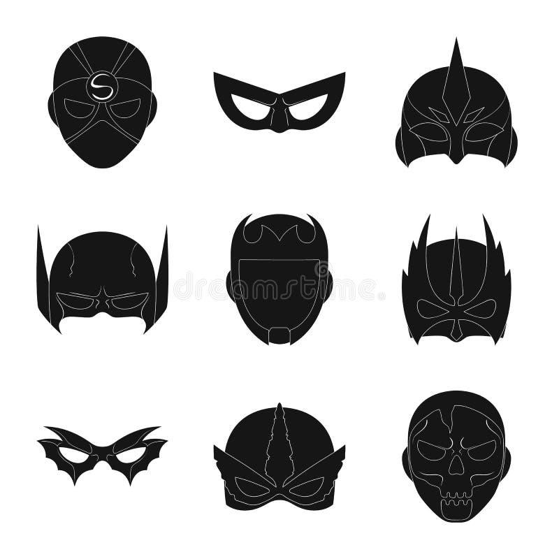 Vector illustration of hero and mask logo. Collection of hero and superhero vector icon for stock. vector illustration