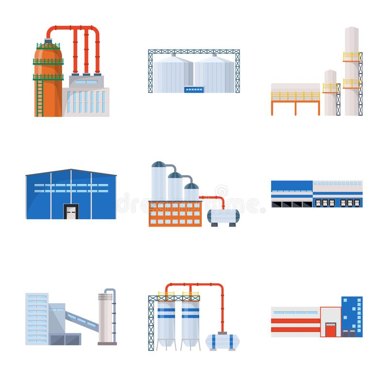 Isolated object of industry and building logo. Set of industry and construction stock symbol for web. stock illustration