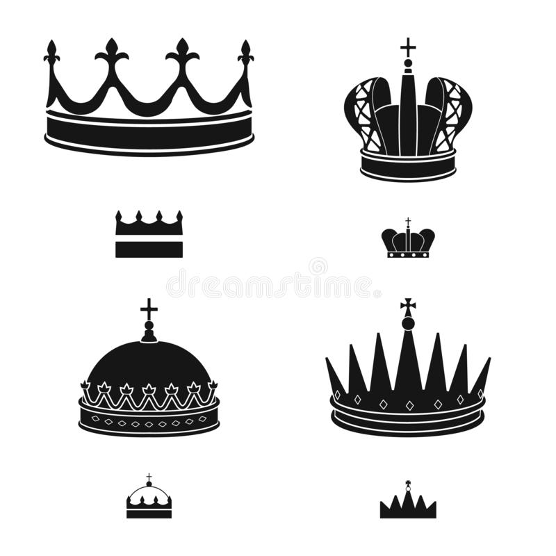 Isolated object of king and majestic icon. Set of king and gold stock symbol for web. Vector design of king and majestic symbol. Collection of king and gold vector illustration