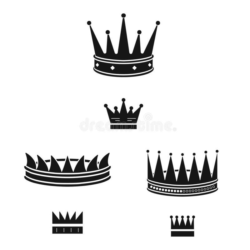 Vector illustration of king and majestic sign. Set of king and gold stock symbol for web. Isolated object of king and majestic logo. Collection of king and gold royalty free illustration