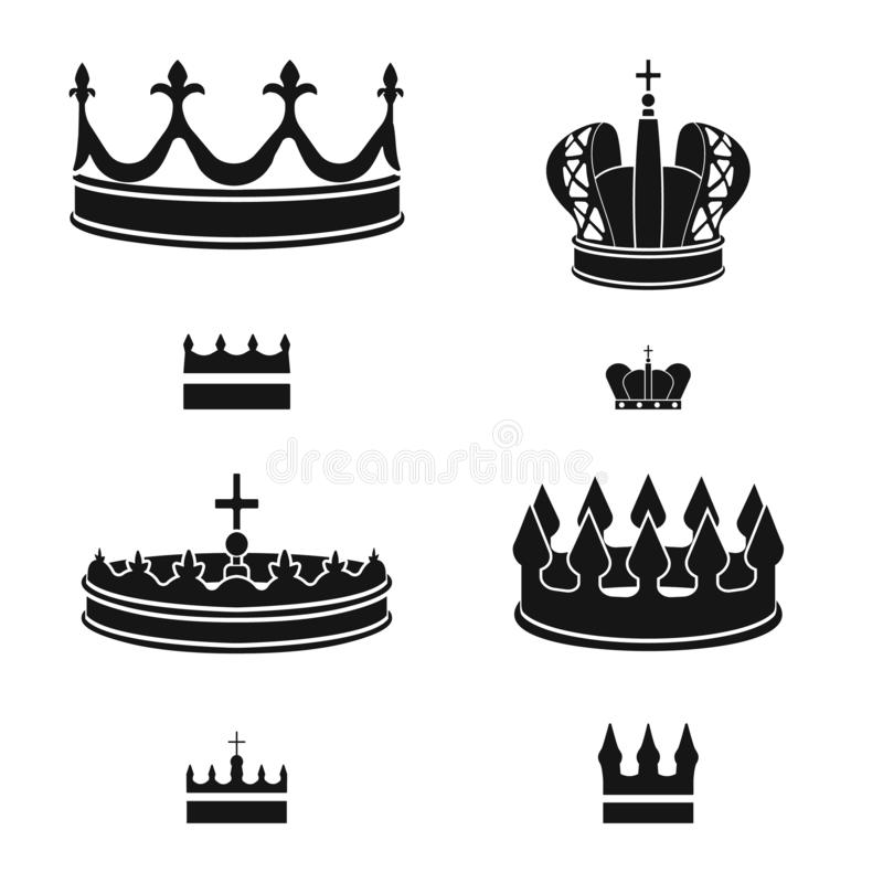 Isolated object of king and majestic logo. Set of king and gold stock symbol for web. Vector design of king and majestic icon. Collection of king and gold stock vector illustration