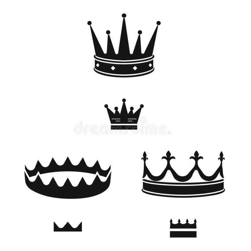Isolated object of king and majestic logo. Set of king and gold stock symbol for web. Vector design of king and majestic icon. Collection of king and gold stock royalty free illustration