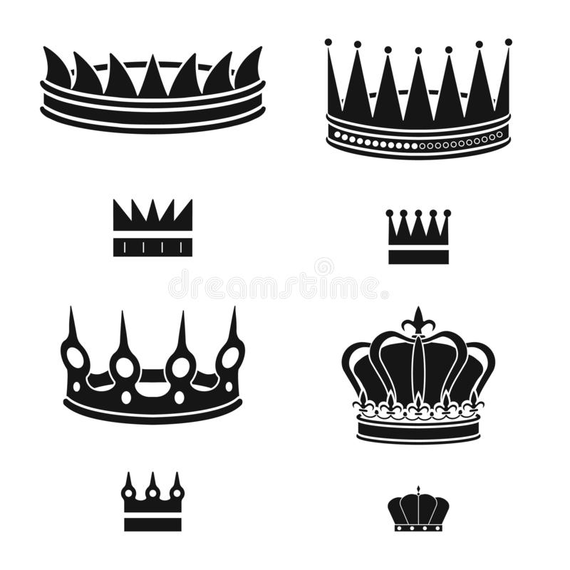Isolated object of king and majestic sign. Collection of king and gold stock symbol for web. Vector design of king and majestic logo. Set of king and gold stock vector illustration