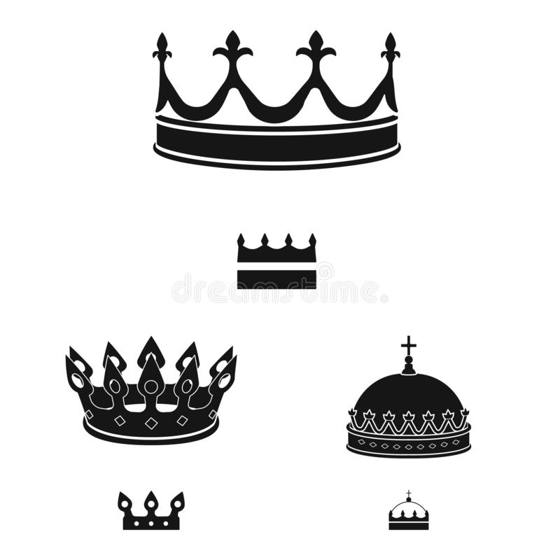 Isolated object of king and majestic sign. Set of king and gold stock vector illustration. Vector design of king and majestic logo. Collection of king and gold royalty free illustration