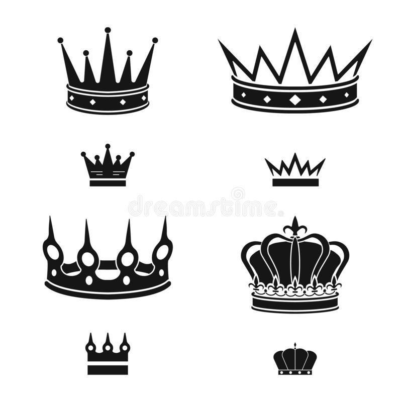 Isolated object of king and majestic symbol. Set of king and gold stock vector illustration. Vector design of king and majestic sign. Collection of king and vector illustration