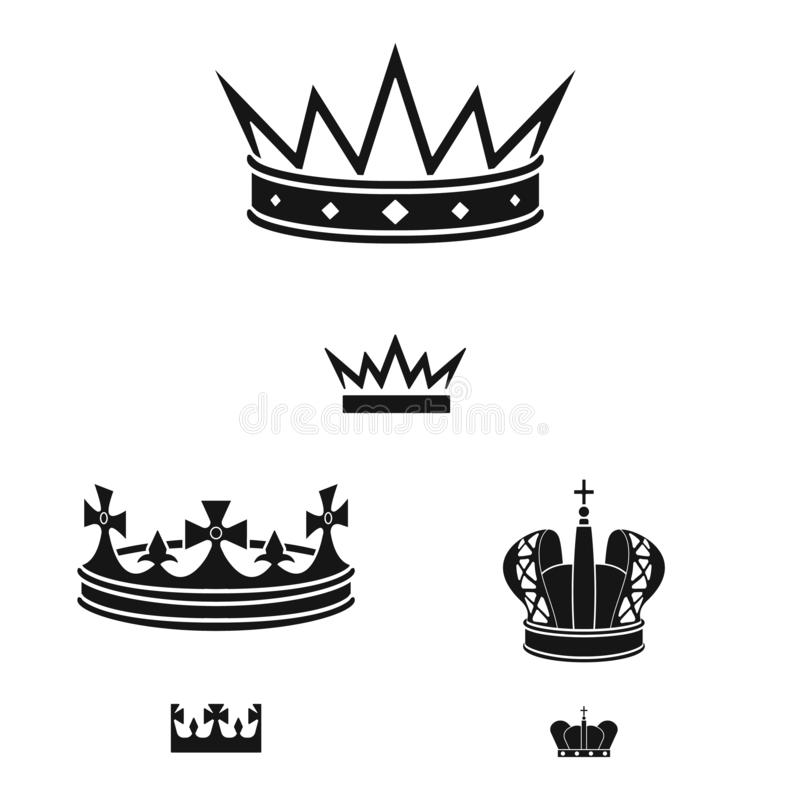 Vector illustration of king and majestic icon. Collection of king and gold stock vector illustration. Isolated object of king and majestic symbol. Set of king vector illustration