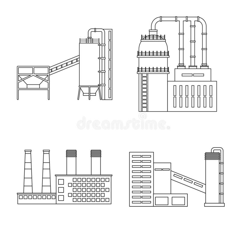 Isolated object of manufacturing and company icon. Collection of manufacturing and structure stock vector illustration. vector illustration