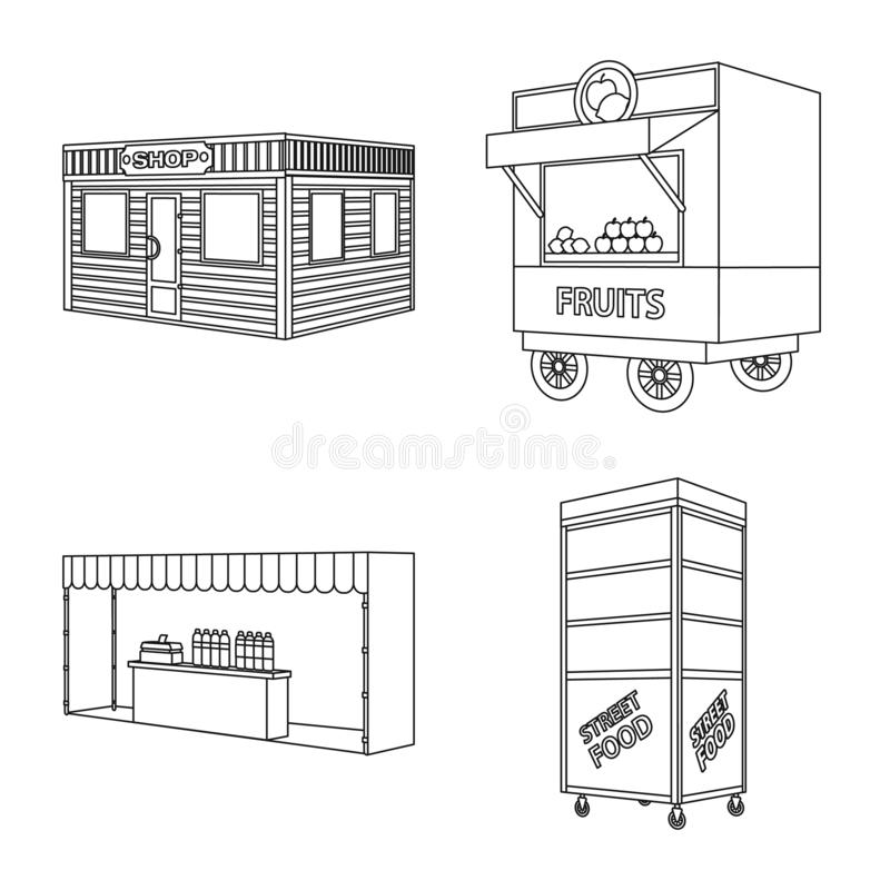 Vector illustration of market and small symbol. Set of market and food stock symbol for web. Isolated object of market and small sign. Collection of market and royalty free illustration