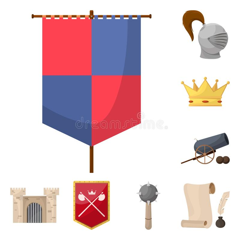 Isolated object of medieval and history sign. Collection of medieval and tournament vector icon for stock. Vector design of medieval and history logo. Set of royalty free illustration