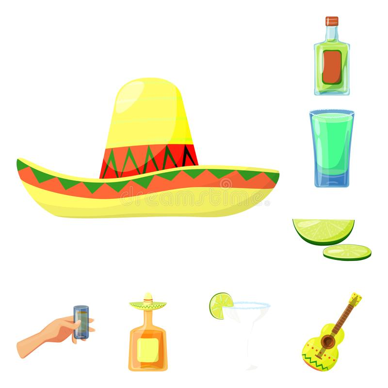 Vector illustration of Mexico and tequila logo. Set of Mexico and fiesta stock symbol for web. Isolated object of Mexico and tequila icon. Collection of Mexico vector illustration