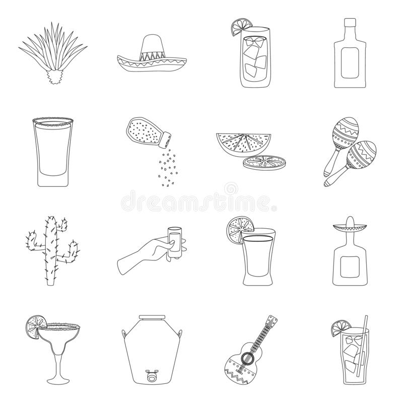 Isolated object of Mexico and tequila symbol. Collection of Mexico and fiesta stock symbol for web. Vector design of Mexico and tequila sign. Set of Mexico and stock illustration