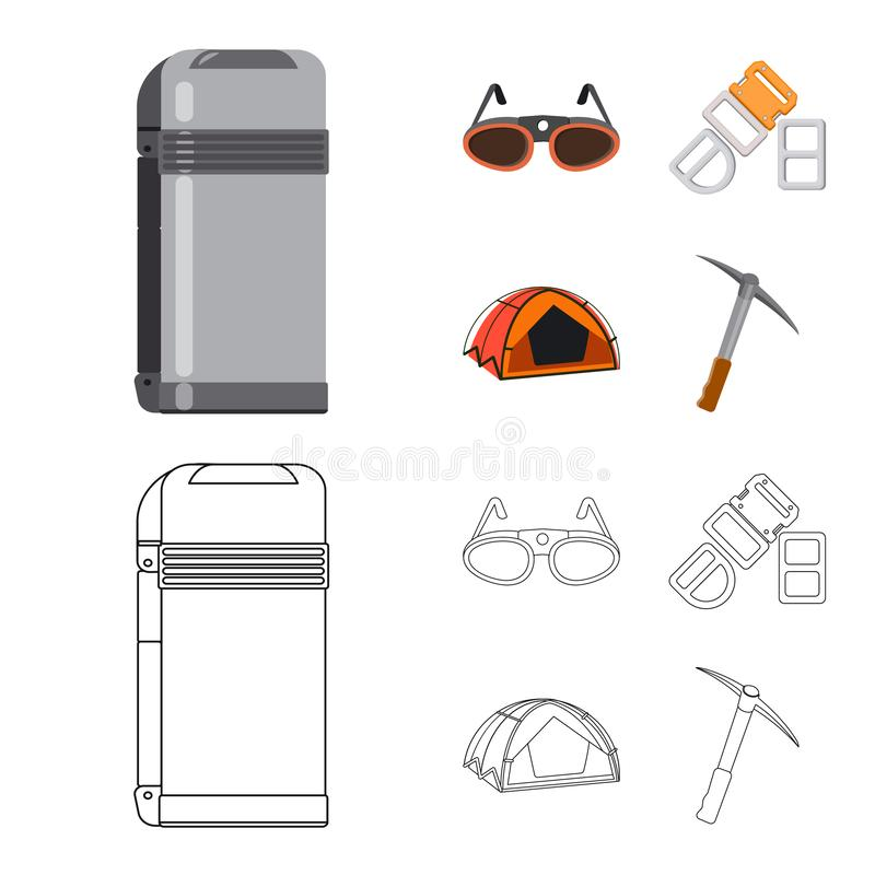 Isolated object of mountaineering and peak logo. Set of mountaineering and camp stock vector illustration. Vector design of mountaineering and peak icon vector illustration