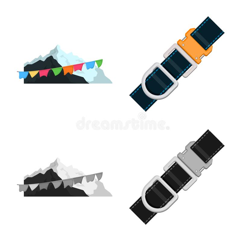Vector illustration of mountaineering and peak icon. Collection of mountaineering and camp vector icon for stock. Isolated object of mountaineering and peak vector illustration