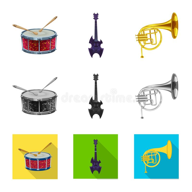 Isolated object of music and tune logo. Collection of music and tool stock symbol for web. Vector design of music and tune icon. Set of music and tool stock royalty free illustration