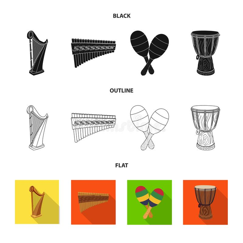 Isolated object of music and tune logo. Collection of music and tool stock vector illustration. Vector design of music and tune icon. Set of music and tool stock illustration