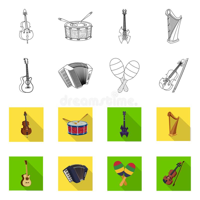 Isolated object of music and tune logo. Collection of music and tool vector icon for stock. Vector design of music and tune icon. Set of music and tool stock vector illustration