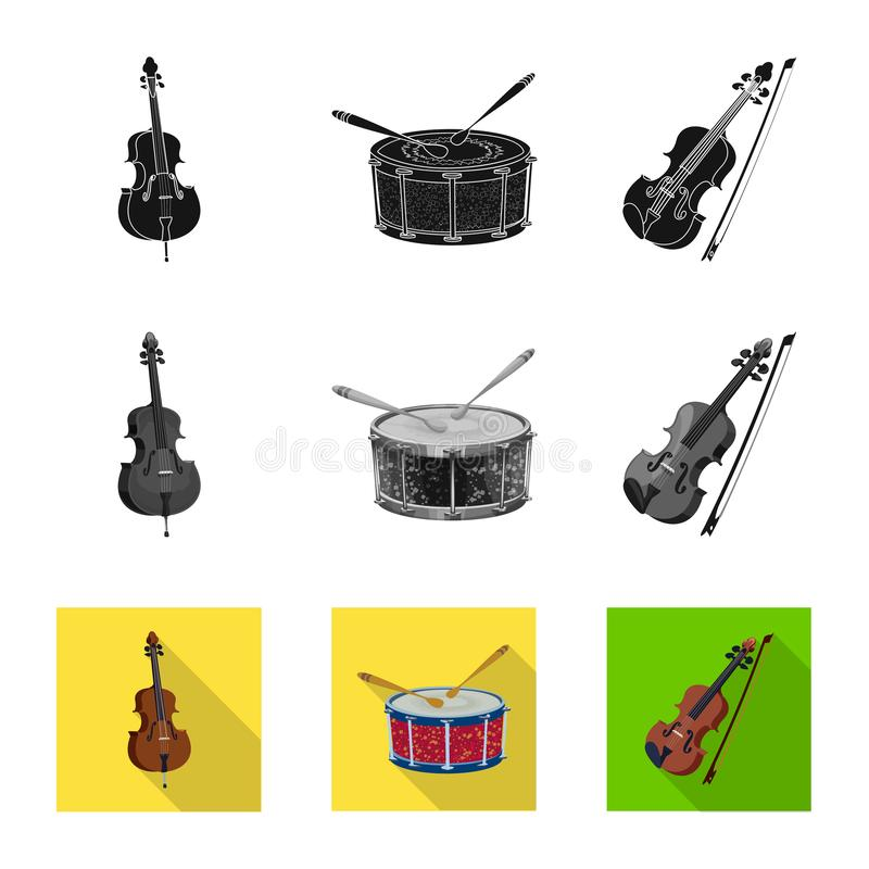 Vector illustration of music and tune sign. Collection of music and tool vector icon for stock. Isolated object of music and tune logo. Set of music and tool vector illustration