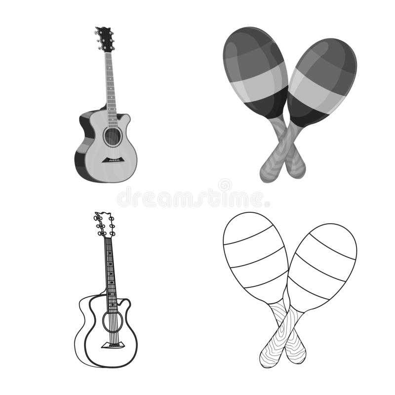 Isolated object of music and tune logo. Set of music and tool stock symbol for web. Vector design of music and tune icon. Collection of music and tool stock royalty free illustration
