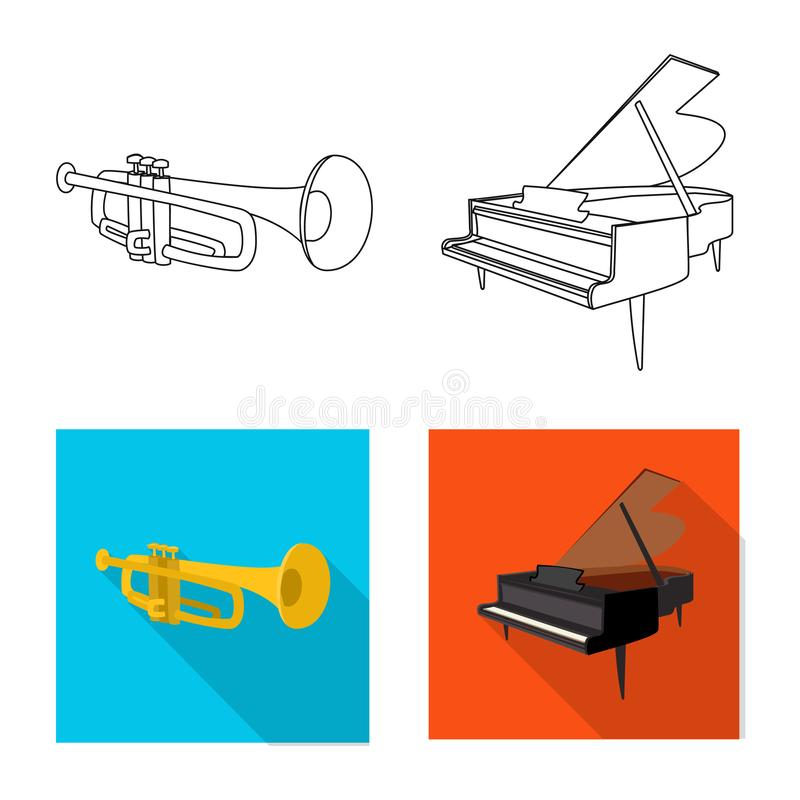 Isolated object of music and tune logo. Set of music and tool stock symbol for web. Vector design of music and tune icon. Collection of music and tool stock vector illustration
