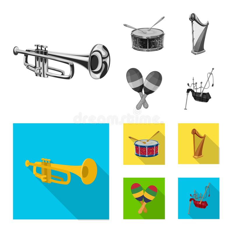 Isolated object of music and tune logo. Set of music and tool stock vector illustration. Vector design of music and tune icon. Collection of music and tool royalty free illustration
