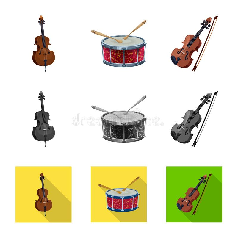 Isolated object of music and tune sign. Set of music and tool vector icon for stock. Vector design of music and tune logo. Collection of music and tool stock royalty free illustration