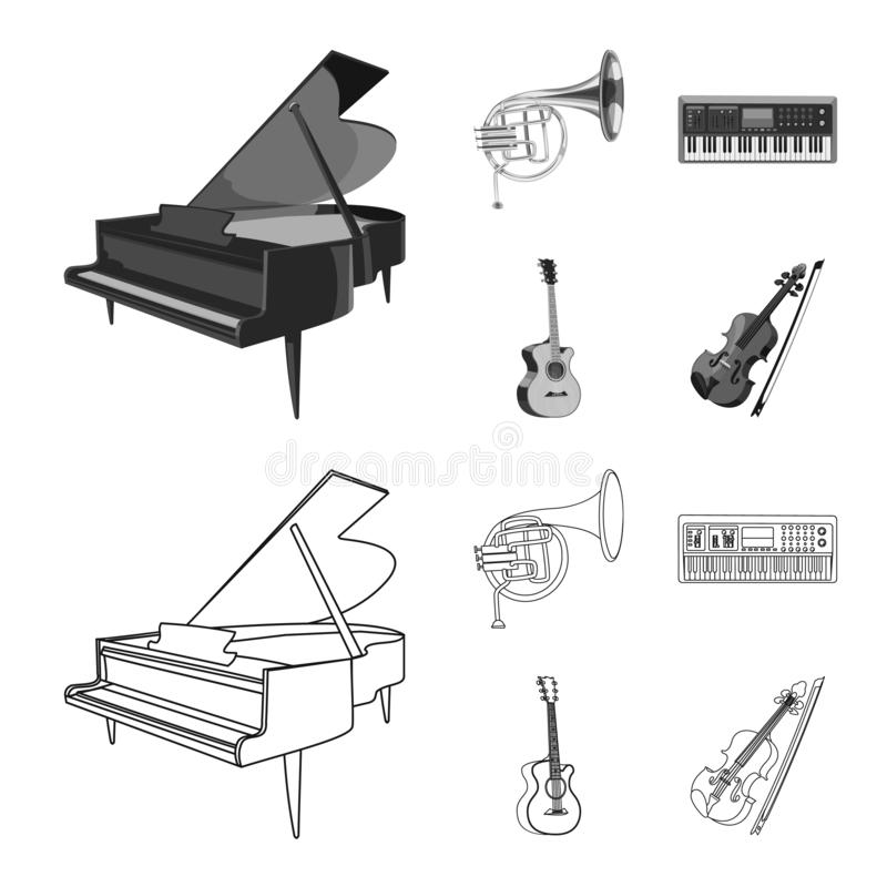Isolated object of music and tune symbol. Collection of music and tool stock vector illustration. Vector design of music and tune sign. Set of music and tool stock illustration