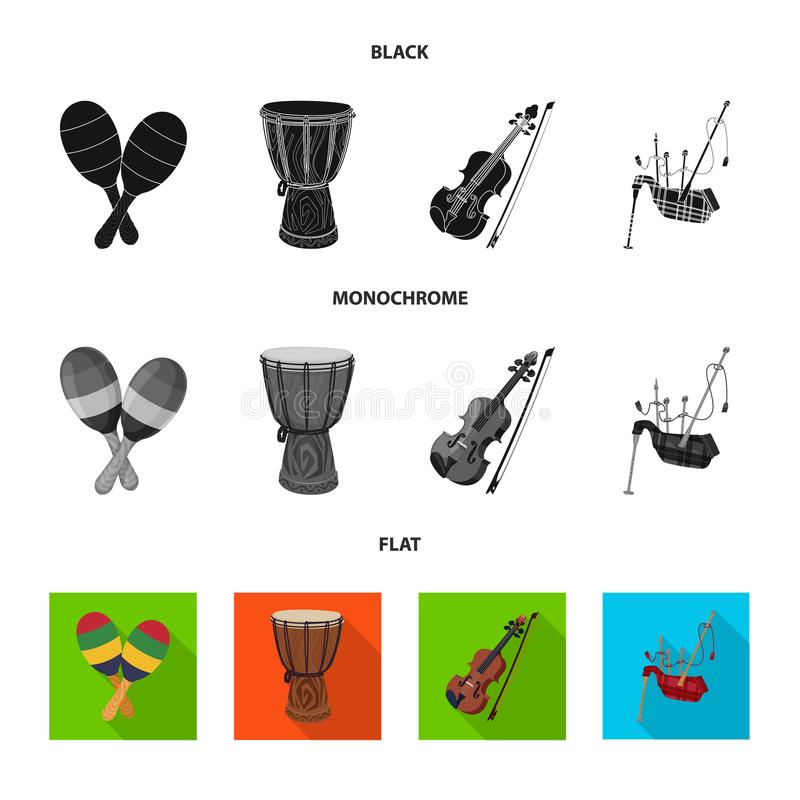 Isolated object of music and tune symbol. Set of music and tool stock vector illustration. Vector design of music and tune sign. Collection of music and tool vector illustration