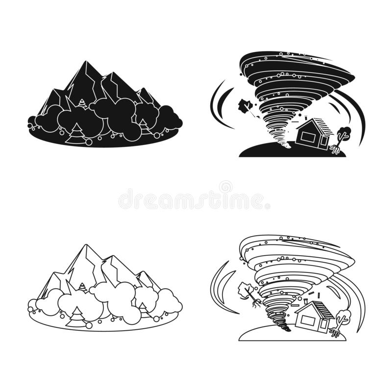 Isolated object of natural and disaster icon. Collection of natural and risk vector icon for stock. Vector design of natural and disaster symbol. Set of natural royalty free illustration