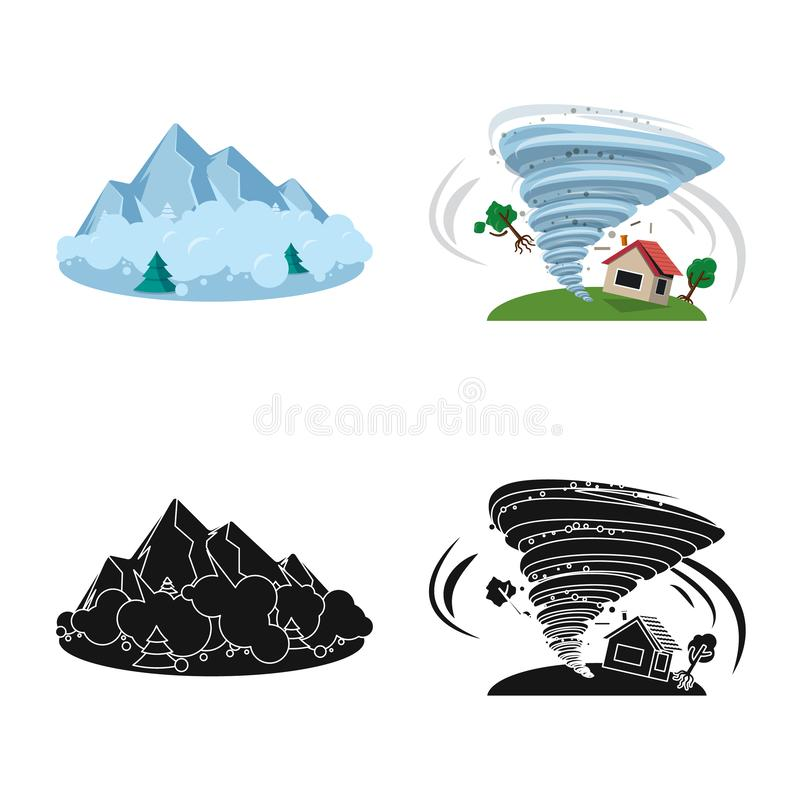 Isolated object of natural and disaster sign. Collection of natural and risk vector icon for stock. Vector design of natural and disaster logo. Set of natural stock illustration