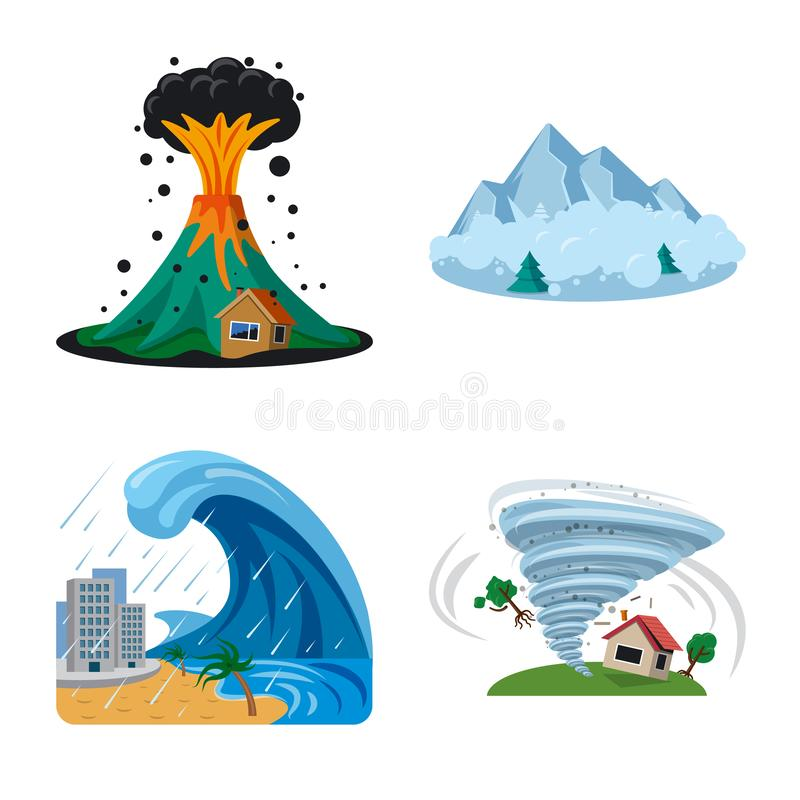 Isolated object of natural and disaster symbol. Set of natural and risk vector icon for stock. Vector design of natural and disaster sign. Collection of natural vector illustration