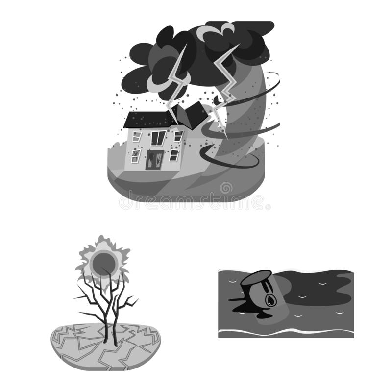 Isolated object of nature and apocalypse logo. Collection of nature and environment stock symbol for web. Vector design of nature and apocalypse icon. Set of vector illustration