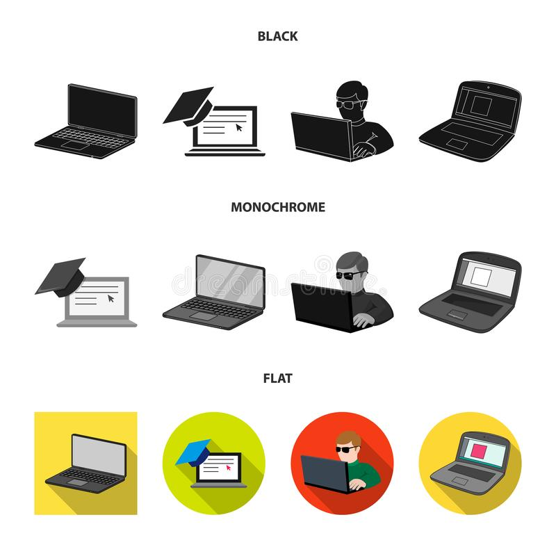 Isolated object of pc and screen sign. Set of pc and monitor stock vector illustration. Vector design of pc and screen logo. Collection of pc and monitor vector stock illustration