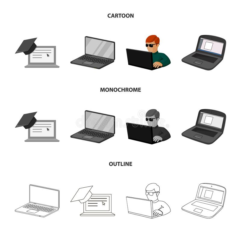 Isolated object of pc and screen symbol. Set of pc and monitor vector icon for stock. Vector design of pc and screen sign. Collection of pc and monitor stock stock illustration