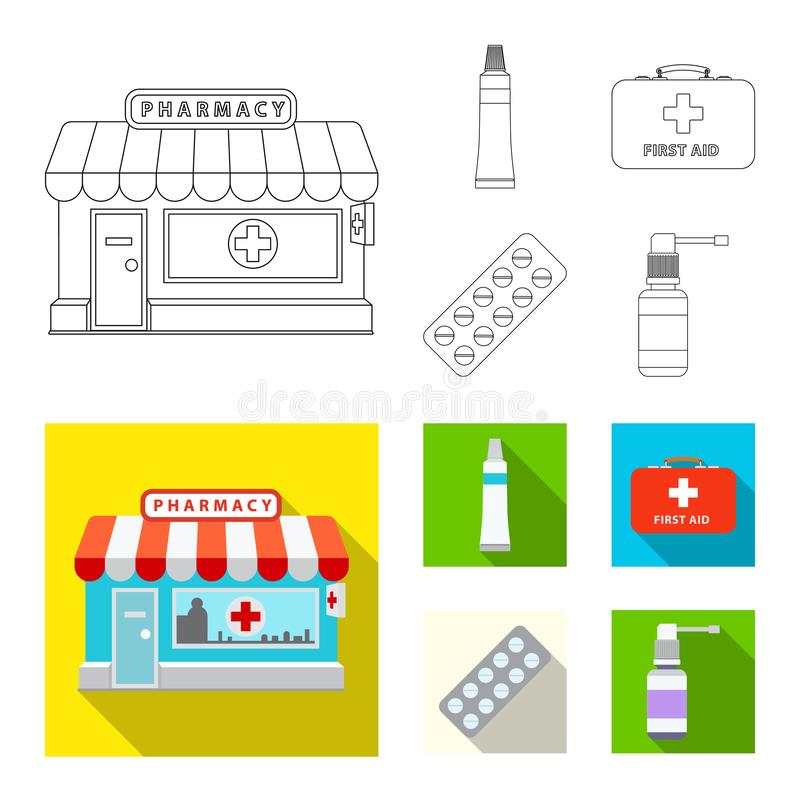 Isolated object of pharmacy and hospital icon. Set of pharmacy and business vector icon for stock. vector illustration