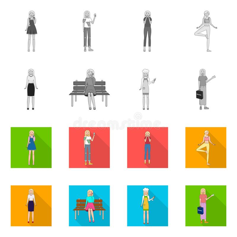 Isolated object of posture and mood icon. Collection of posture and female vector icon for stock. Vector design of posture and mood symbol. Set of posture and vector illustration