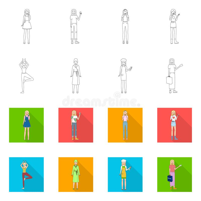 Vector illustration of posture and mood sign. Set of posture and female stock symbol for web. Isolated object of posture and mood logo. Collection of posture stock illustration