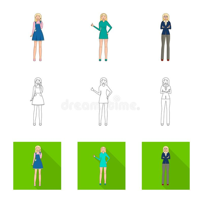 Vector illustration of posture and mood sign. Set of posture and female stock vector illustration. Isolated object of posture and mood logo. Collection of royalty free illustration
