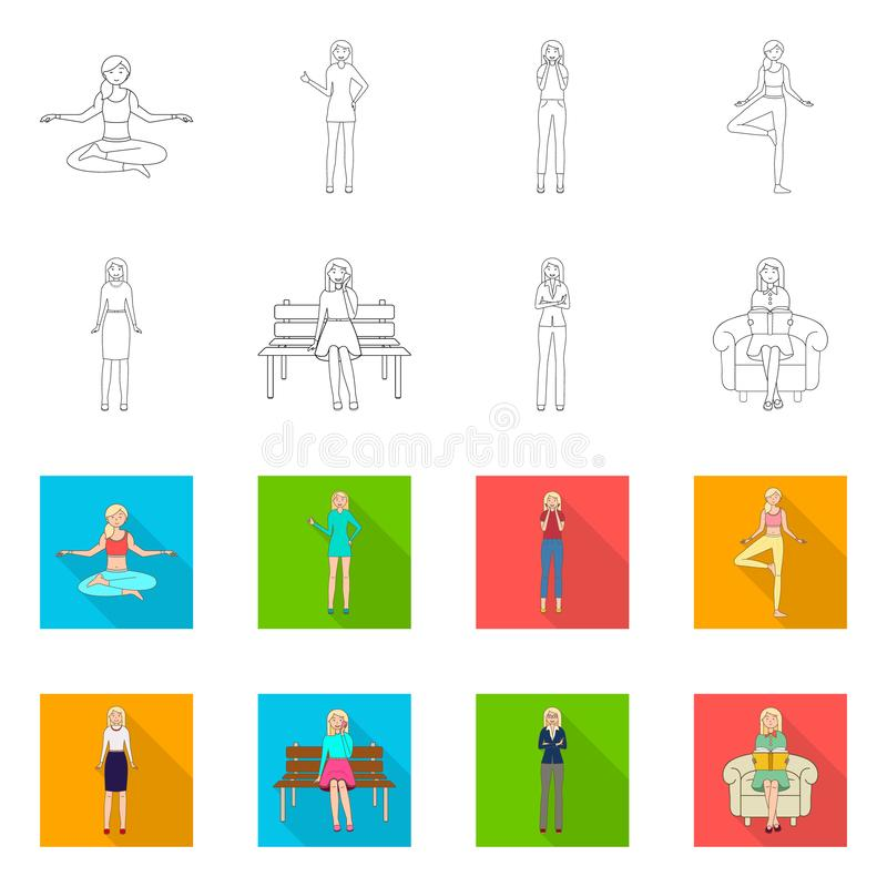 Isolated object of posture and mood sign. Set of posture and female stock vector illustration. Vector design of posture and mood logo. Collection of posture and stock illustration