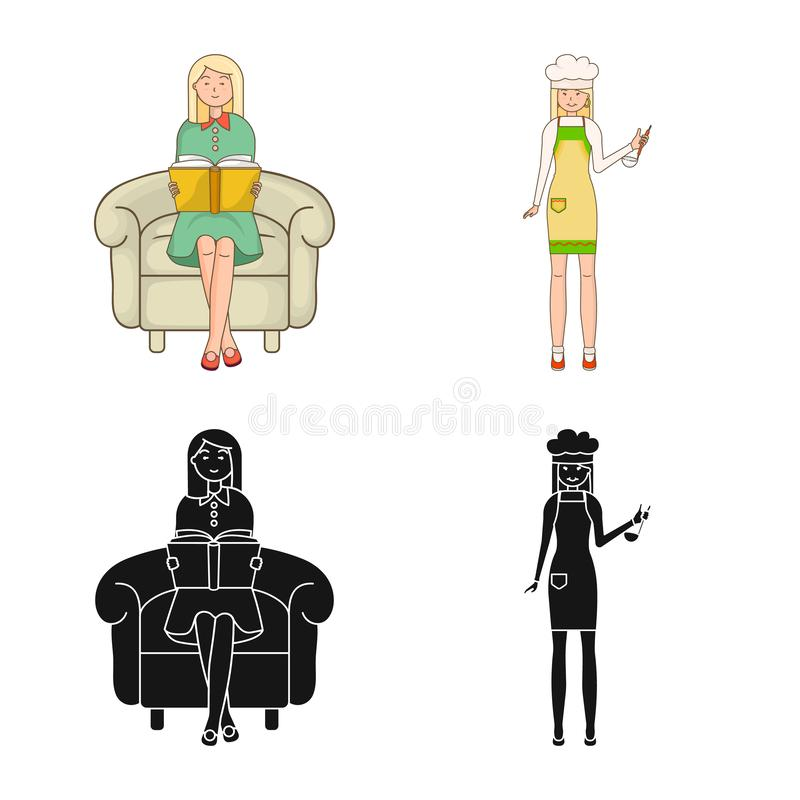 Isolated object of posture and mood symbol. Collection of posture and female stock vector illustration. Vector design of posture and mood sign. Set of posture royalty free illustration