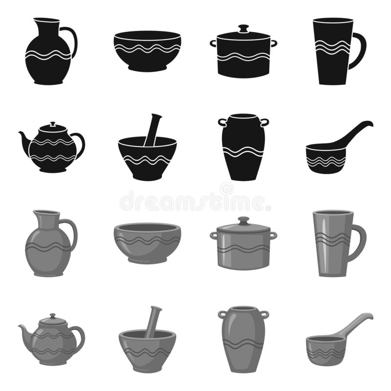 Vector illustration of pottery and ware logo. Collection of pottery and clayware stock symbol for web. Isolated object of pottery and ware icon. Set of pottery vector illustration