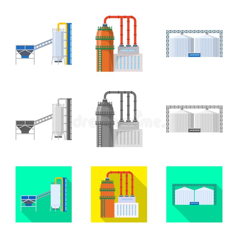 Isolated object of production and structure sign. Set of production and technology vector icon for stock. stock illustration