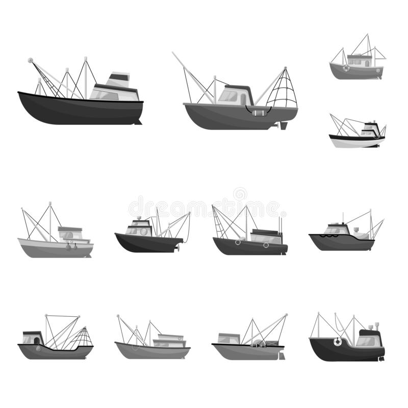 Isolated object of sea and speedboat logo. Collection of sea and industrial vector icon for stock. Vector design of sea and speedboat icon. Set of sea and vector illustration