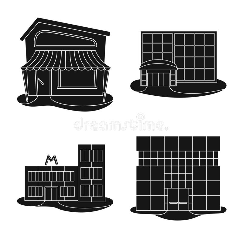 Isolated object of supermarket and building icon. Collection of supermarket and commercial stock vector illustration. Vector design of supermarket and building stock illustration