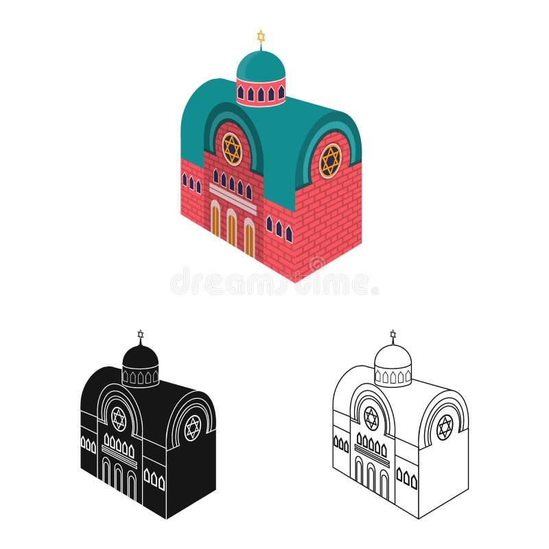 Vector illustration of synagogue and church sign. Set of synagogue and judaism stock vector illustration. Isolated object of synagogue and church logo vector illustration