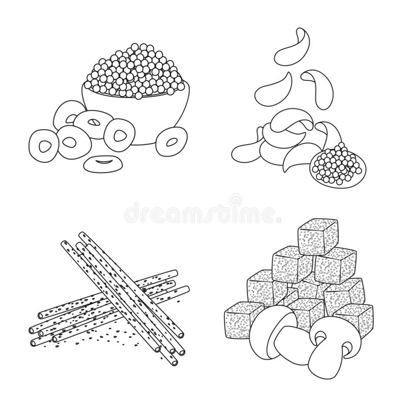 Isolated object of taste and crunchy icon. Set of taste and cooking stock vector illustration. Vector design of taste and crunchy symbol. Collection of taste stock illustration